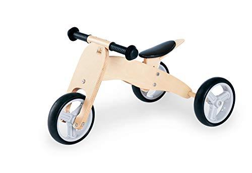 Pinolino Mini-Laufdreirad Charlie, aus Holz, 4-fach umbaubar, Sattel 6-fach höhenverstellbar, für Kinder ab 1,5 Jahren, natur