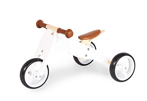 Pinolino Mini-Laufdreirad Charlie, aus Holz, 4-fach umbaubar, Sattel 6-fach höhenverstellbar, für Kinder ab 1,5 Jahren, weiß/natur