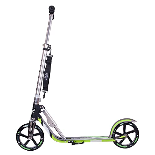 HUDORA 6956016014695 14695 BigWheel 205-Das Original mit RX Pro Technologie-Tret-Roller klappbar-City-Scooter, Grau/Grün