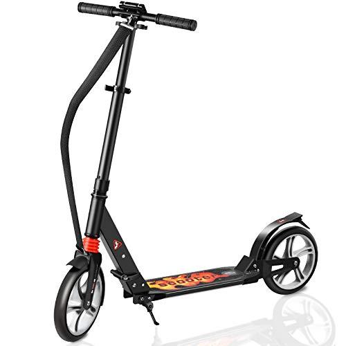 Fast 88 City Roller Scooter Klappbar & Höhenverstellbar Roller Kinder | Big Wheel Scooter Cityroller mit Doppelfederung und Tragegurt, Tretroller für Erwachsene und Kinder (Night Sky Black)