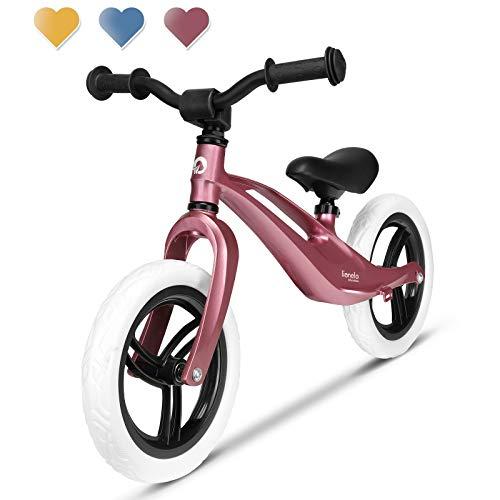 Lionelo Bart Laufrad ab 2 Jahre bis zu 30 kg Magnesiumrahmen 12 Zoll Räder Lenkrad und Sattel höhenverstellbar Lenkradschloss Fußstütze Tragegriff Ultraleicht (Rosa)