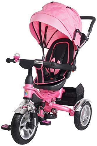 Miweba Kinderdreirad Schieber 7 in 1 Kinderwagen - 360° Drehbar - Faltbar - Luftreifen - Heckfederung - Laufrad - Dreirad - Schubstange - Ab 1 Jahr (KSF10 Faltbar Pink)