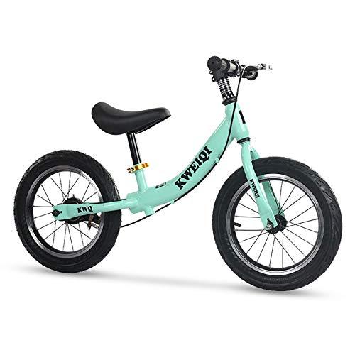 Laufrad für Kinder 2-6 Jahre, 14 Zoll Balance Fahrrad fürs Gleichgewicht mit höhenverstellbarem Sattel und Lenker, Lernlaufrad mit Handbremse, Max 70 kg,Grün