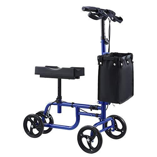 VONOYA Klapprad Kniescooter Knee Walker mit verstellbarem Lenker und Korb Knie-Walker-Roller Knie-Roller bis 158 kg (Blau)