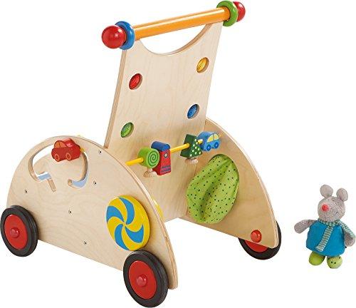 HABA 902 - Entdeckerwagen, stabiler Lauflernwagen aus Holz mit Stoffmaus, Mausversteck und vielen Spielmglichkeiten, Holzwagen mit Sitzflche, ab 10 Monaten