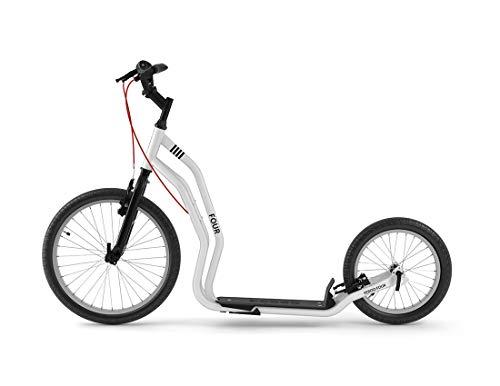 Yedoo Four Tretroller - bis 150 kg, Kickscooter mit Luftreifen 20/16 - Dogscooter für Erwachsene, Cityroller mit Ständer und verstellbaren Lenker, weiß