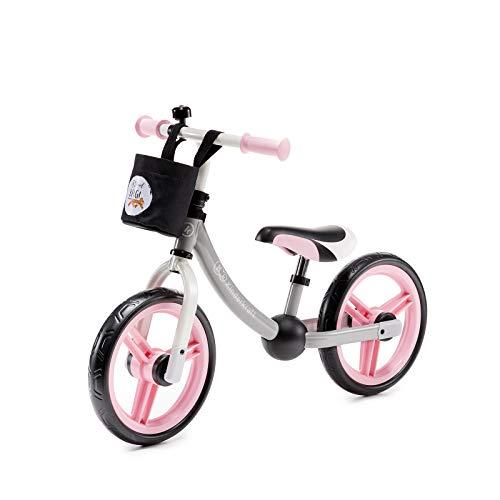 Kinderkraft Laufrad 2WAY NEXT, Lernlaufrad, Kinderlaufrad, Lauflernrad für Kinder, Kinderrad mit Zubehör, Klingel, Tasche für Kleinigkeiten, 12 Zoll Räder, Metall, ab 2 Jahre, Modernes Design, Rosa