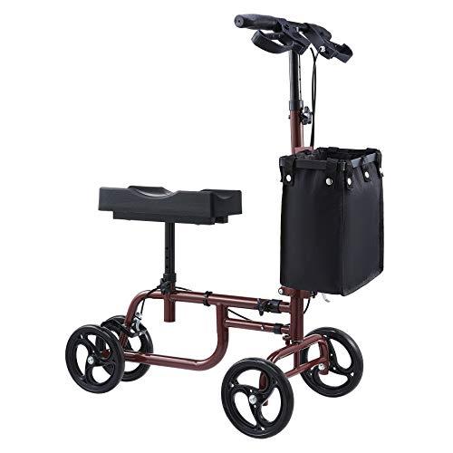 VONOYA Klapprad Kniescooter Knee Walker mit verstellbarem Lenker und Korb Knie-Walker-Roller Knie-Roller bis 135 kg (Rot)