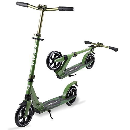 VOKUL Scooter Faltbarer Kick Scooters für Jugendliche & Erwachsene ab 12 Jahren, Tretroller Big Wheel Scooter 205 MM   Cityroller Höhenjustierbar   Stoßdämpfer   Umhängegurt   Kapazität Bis 220lbs