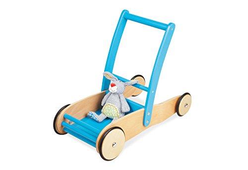 Pinolino Lauflernwagen Uli, aus Holz, mit Bremssystem, Lauflernhilfe mit gummierten Holzrdern, fr Kinder von 1 6 Jahren, trkis