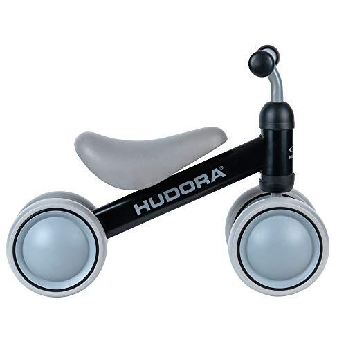 HUDORA Laufrad Mini, schwarz | Laufrad ab 1 Jahr | 4 Räder | Lauflernrad Kinderlaufrad