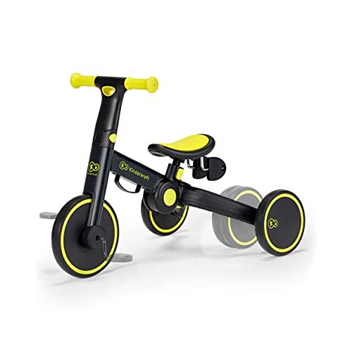 Kinderkraft Dreirad 3in1 4TRIKE, Leicht Rutscher, Laufrad, Zusammenklappbar, ergonomische Sattel, ab 12 Monat bis 5 Jahre, Schwarz