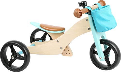 Small foot 11610 Laufrad Trike 2 in 1 Türkis aus Holz, Drei- und Laufrad, mit verstellbarem Sitz und gummierten Reifen