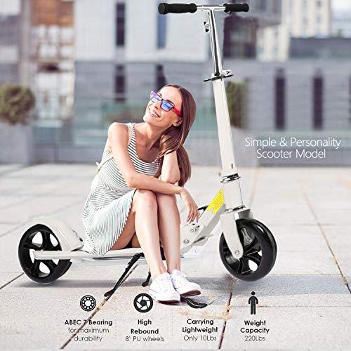Hiriyt Leicht Scooter T-Style Stabile, aus Aluminiumlegierung, Klappbar und Hhenverstellbar, Big Wheel 195mm Rder Cityroller fr Erwachsene (Wei)