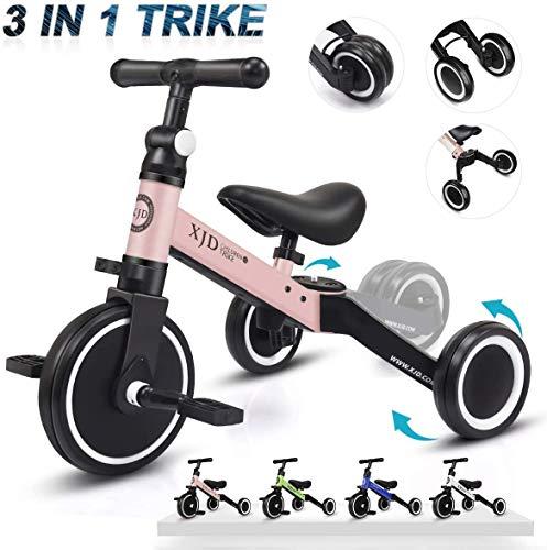 XJD 3 in 1 Kinder Dreiräder für 1-3 Jahre Alt Kleinkind Jungen Mädchen Baby Bike Trike Upgrade 2.0 (Hellrosa)