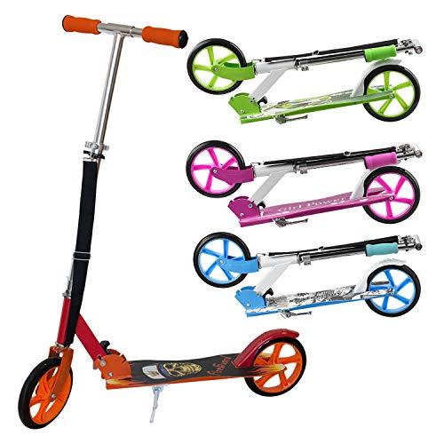 ArtSport Kinder Scooter schwarz/rot | ab 6 Jahre | 205 mm Rder | klappbar hhenverstellbar | 100 kg belastbar | Cityroller Tretroller Kinderroller