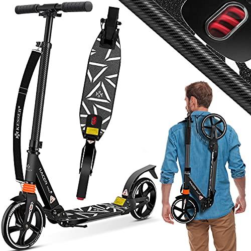 KESSER® Cityroller Scooter 205mm Räder PU Big Wheel - Pro-S Tretroller mit Doppel Federung, City-Roller Scooter klappbar und Höhenverstellbar, Roller Kickscooter für Erwachsene und Kinder, Carbon