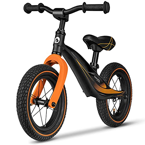 Lionelo Bart Laufrad ab 2 Jahre bis zu 30 kg Magnesiumrahmen 12 Zoll Räder Lenkrad und Sattel höhenverstellbar Lenkradschloss Fußstütze Tragegriff Ultraleicht (Schwarz-Orange)